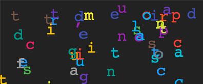 像小蝌蚪一样四处浮动的文字动画效果