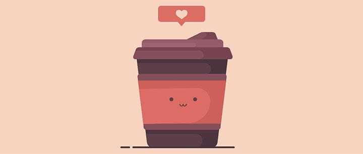 css3卡通爱心咖啡杯表情动画特效