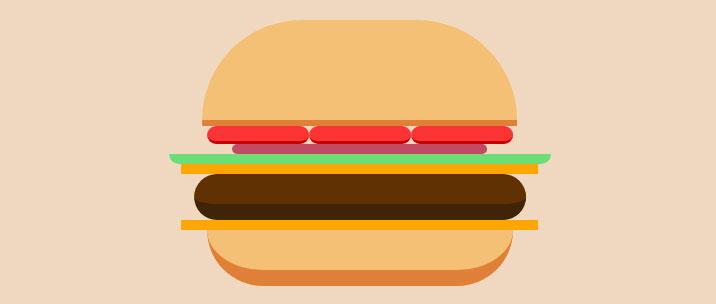 css3绘制卡通汉堡包图形动画特效