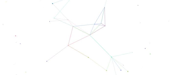 html5 canvas彩色网状线条粒子动画特效