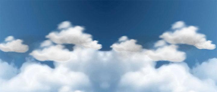 逼真的css3蓝天白云场景动画特效