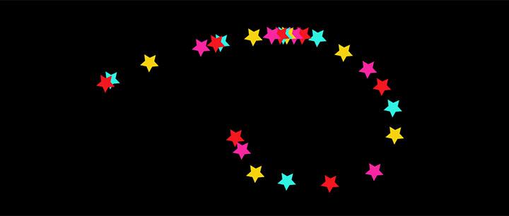 html5 svg彩色星星跟随鼠标光标移动动画特效