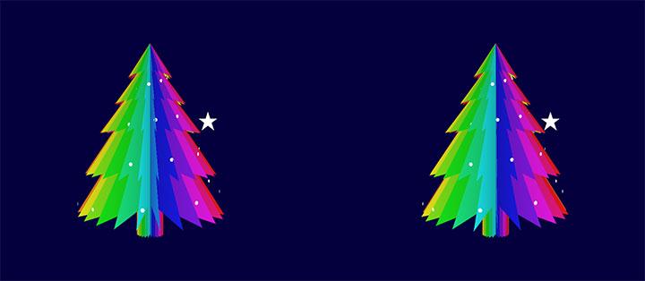 css3绘制的卡通彩色圣诞树旋转动画特效