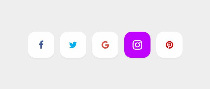 css3社交媒体图标按钮悬停动画特效