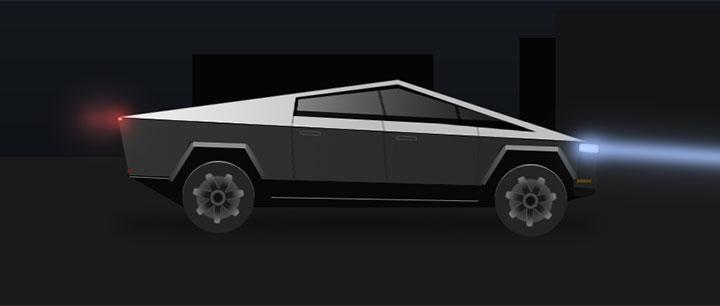 css3酷炫特斯拉汽车行驶动画特效