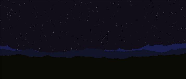 html5 canvas山顶夜空流星划过背景动画特效