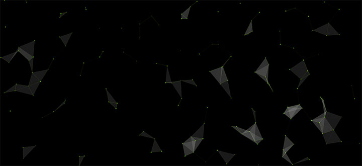 html5 canvas粒子组合三角形3D结构旋转动画特效