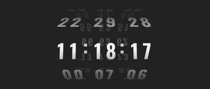 splitting+css3制作的3D立体数字时钟滚动特效