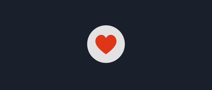 html5+css3圆形爱心点赞图标按钮动画特效