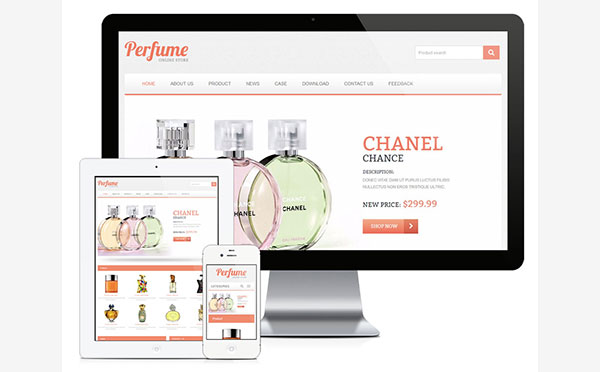 易优cms响应式香水外贸企业英文网站模板源码 自适应手机端