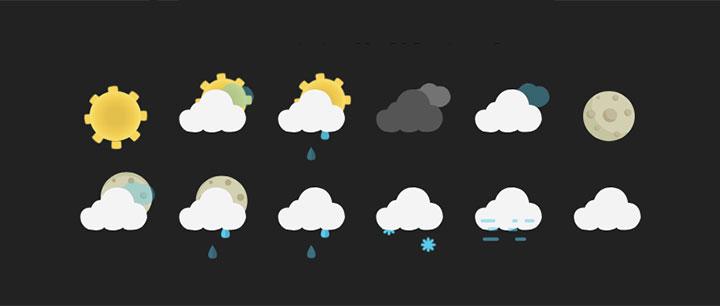 html5 svg常用的天气预报图标动画特效