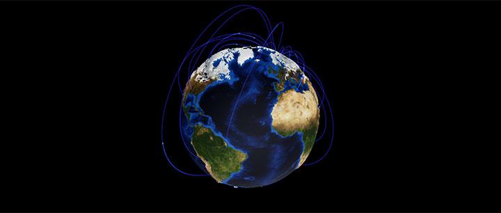 html5 canvas+echarts 3D互联网地球旋转动画特效
