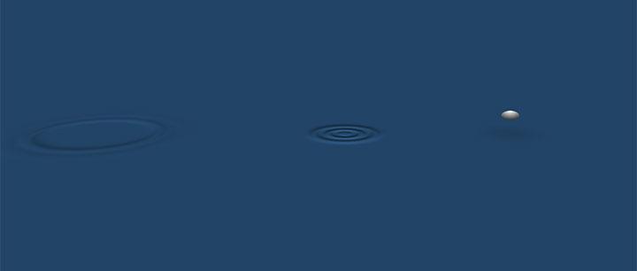 css3往水面扔石子打水波纹动画特效