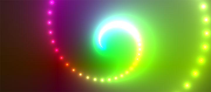 html5 canvas全屏炫酷彩色发光霓虹灯粒子螺旋动画特效