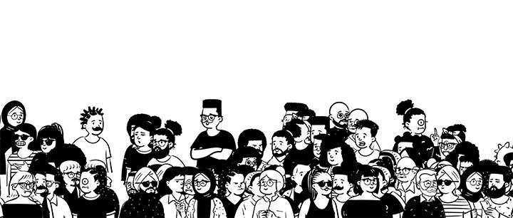 html5 canvas+gsap人来人往卡通人物人群动画特效