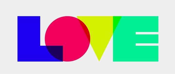 css3创意多色几何图形LOVE英文字母特效