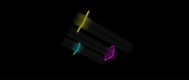 css3霓虹灯方框绕柱子来回晃动3D动画特效