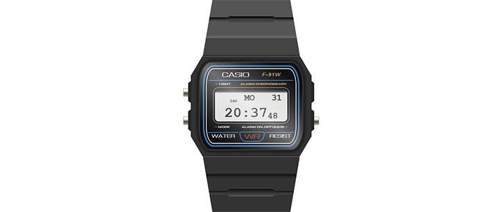 js+css3卡西欧手表图形电子时钟特效