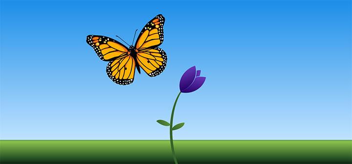 漂亮的css3卡通花朵上蝴蝶飞舞动画特效