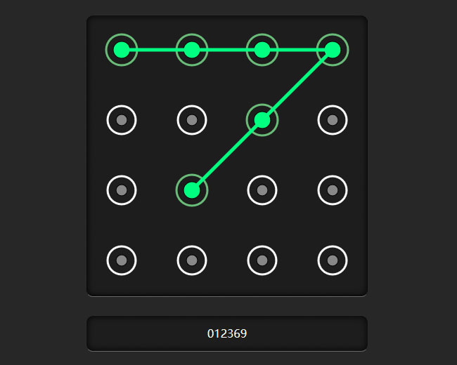 网站特效代码jQuery手机图案九宫格密码锁设置代码