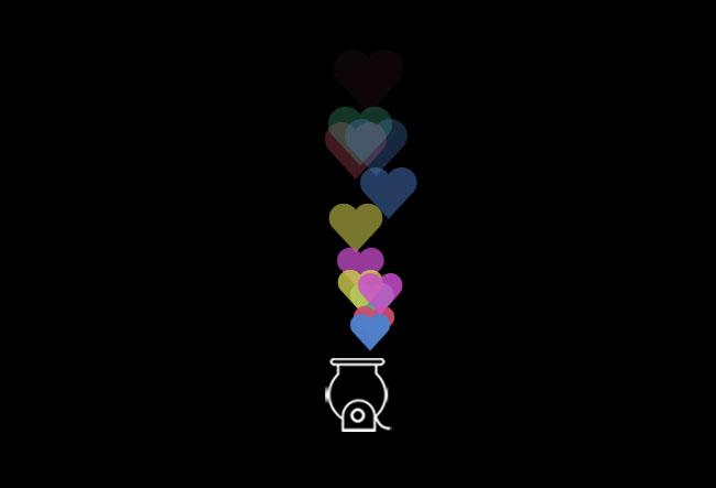 网站特效代码jQuery彩色心形冒泡动画特效