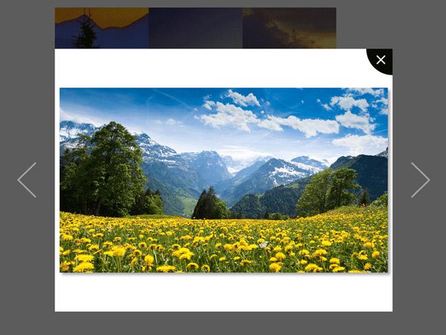 jQuery图片相册点击缩略图弹出大图预览特效