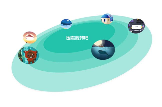 CSS3图片围绕地球周转旋转动画特效