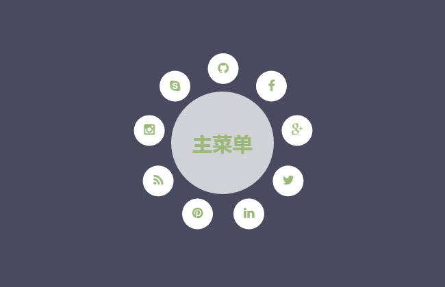 CSS3圆形环绕菜单动画特效