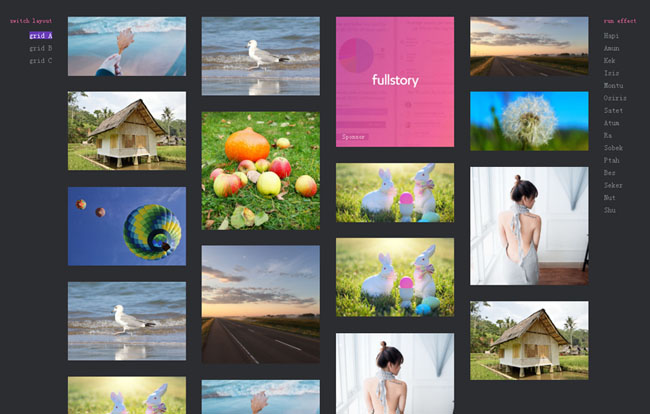 带筛选功能的HTML5图片瀑布流加载动画特效