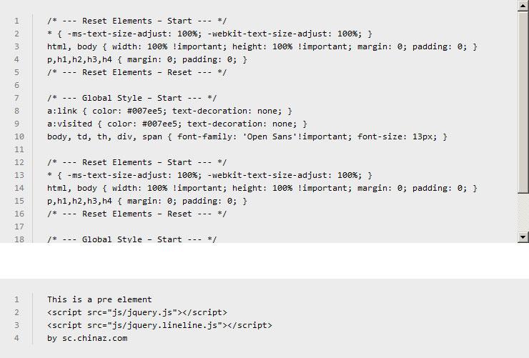 网站特效代码jquery.lineline.js插件自定义生成代码行号动画特效