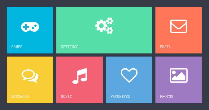 网站特效代码jQuery CSS3仿windows8 Metro风格界面布局效果