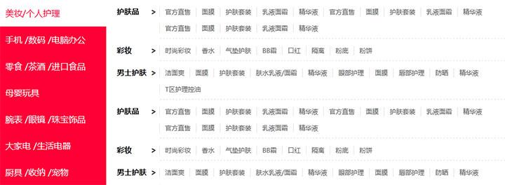 jQuery仿天猫商品分类导航菜单切换代码
