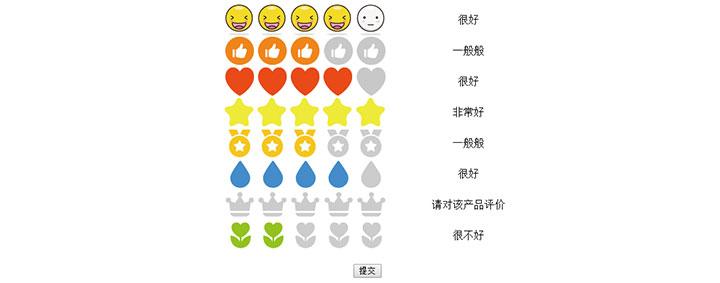 jQuery表情图标评价打分代码