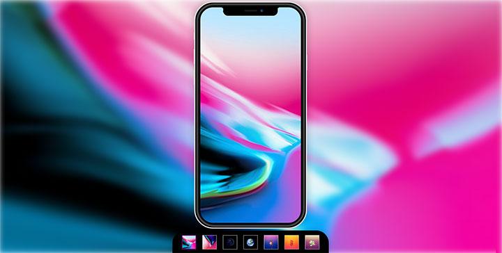 CSS3 iPhoneX手机屏幕背景和页面背景图片同时切换特效
