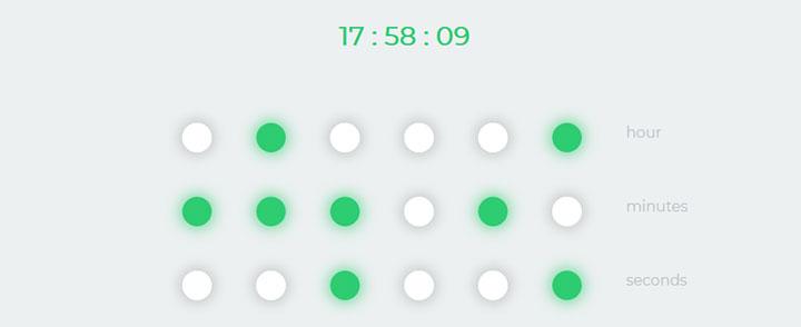 jQuery二进制数字时钟代码