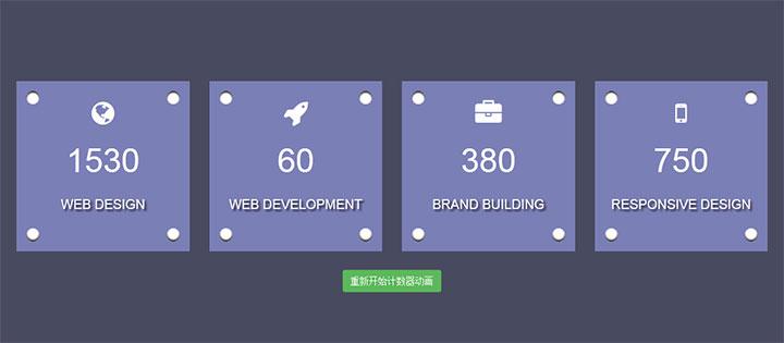 网站特效代码Bootstrap jQuery数字增长动画特效