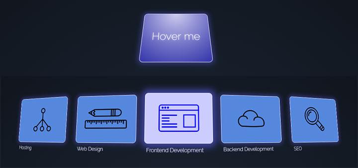 CSS3鼠标悬停3D图标菜单动画展开特效