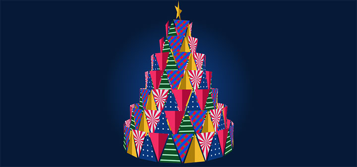 CSS3卡通圣诞蛋糕树旋转动画特效