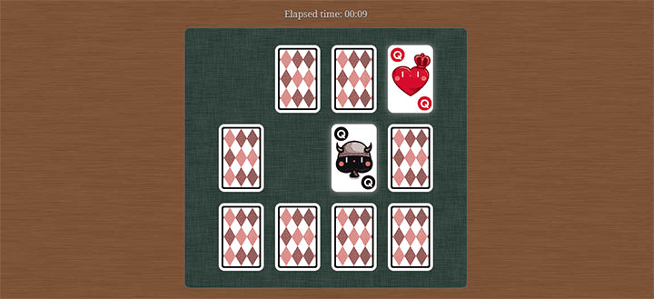jQuery扑克牌翻牌配对消除游戏源码