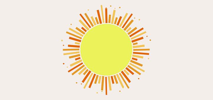 CSS3卡通太阳阳光照射动画特效