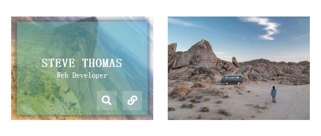 CSS3悬停图片旋转放大并遮罩显示文字动画特效