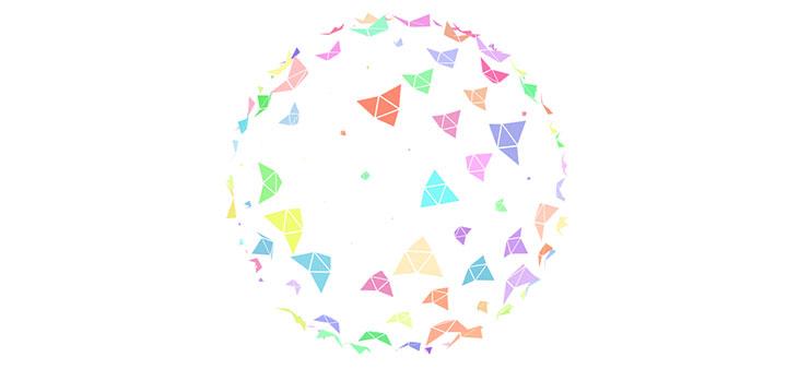 html5 canvas彩色碎片組合球形旋轉動畫特效
