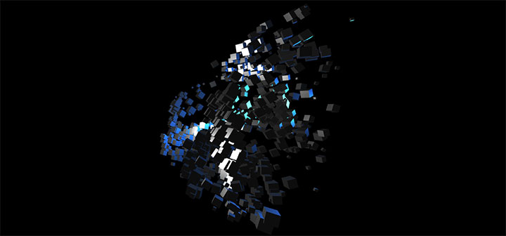 html5+three.js酷炫立方体碎片鼠标跟随动画特效