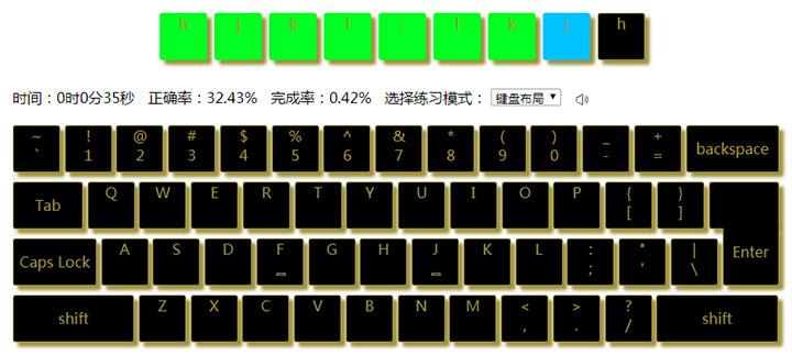 jQuery网页版键盘打字练习小游戏代码