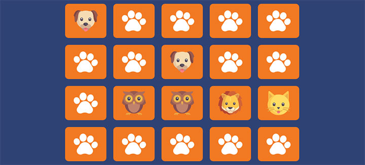 HTML5 SVG记忆配对小游戏代码
