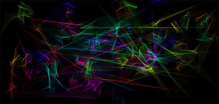 HTML5 Canvas彩色线条合成虚幻背景动画特效