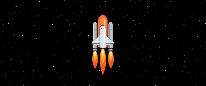 html5 svg宇宙航天火箭升空加速动画特效