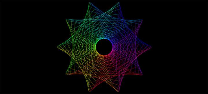 html5 canvas绘制线条组合几何体动画特效