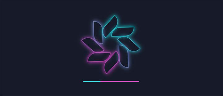 CSS3花瓣发光旋转加载loading动画特效