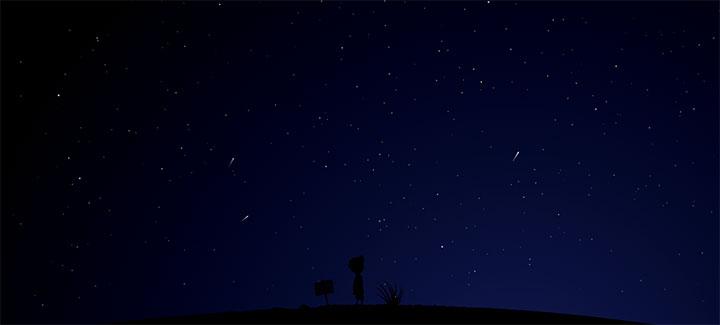 html5 svg夜空中星星流星动画场景特效